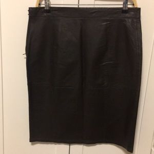 MAX STUDIODark brown leather skirt.